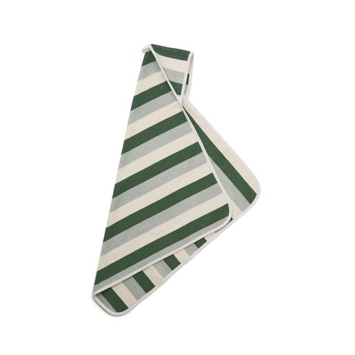 Liewood - Alba hooded baby towel stripe garden green
