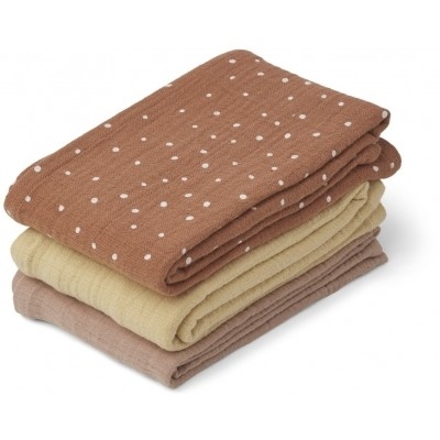 Liewood - Line muslin cloth 3-pack