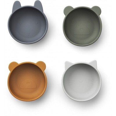 Liewood - Iggy silicone bowls 4-pack blue mix